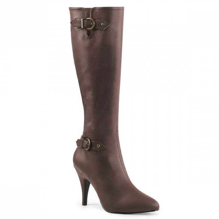 Brown Faux Leather Knee High Boots Dream-2030