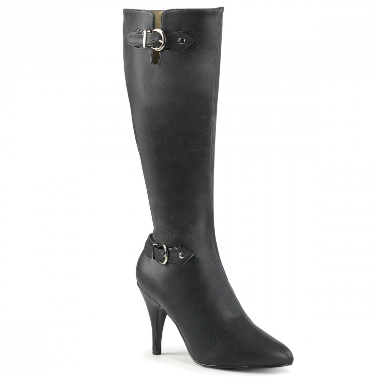 Black Faux Leather Knee High Boots Dream-2030