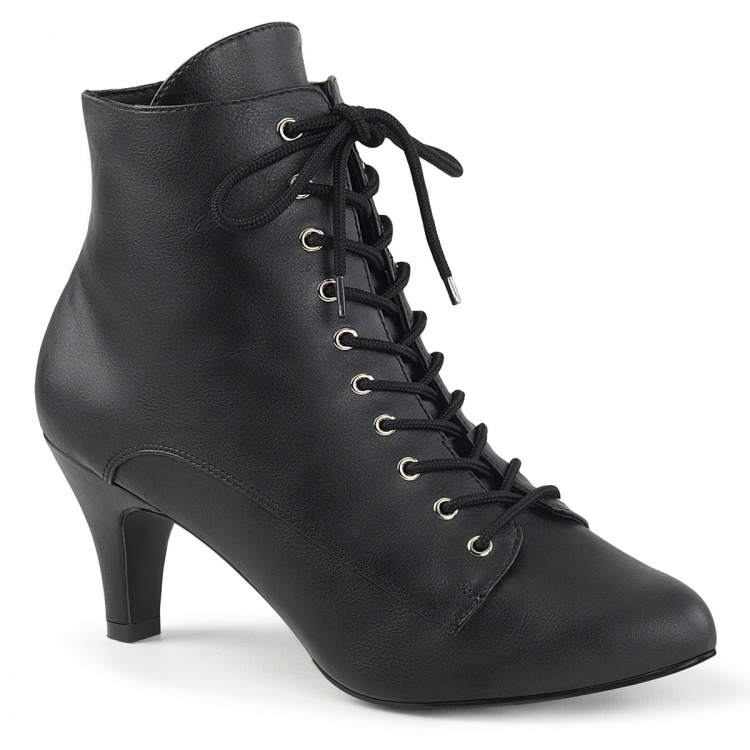 Black Faux leather Ankle Boots Divine-1020