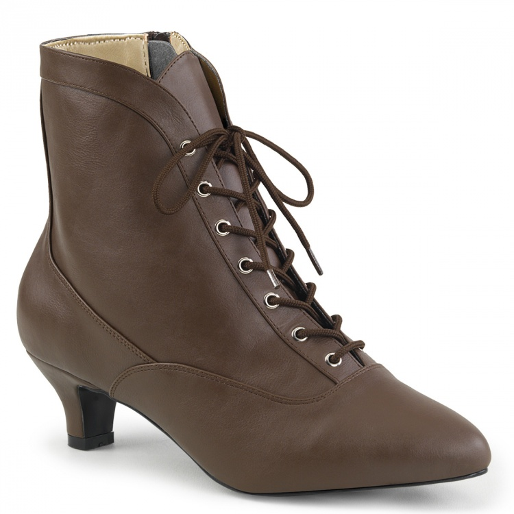 Brown Faux Leather Ankle Boots Fab-1005