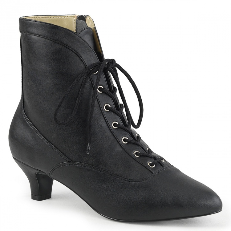 Black Faux Leather Ankle Boots Fab-1005