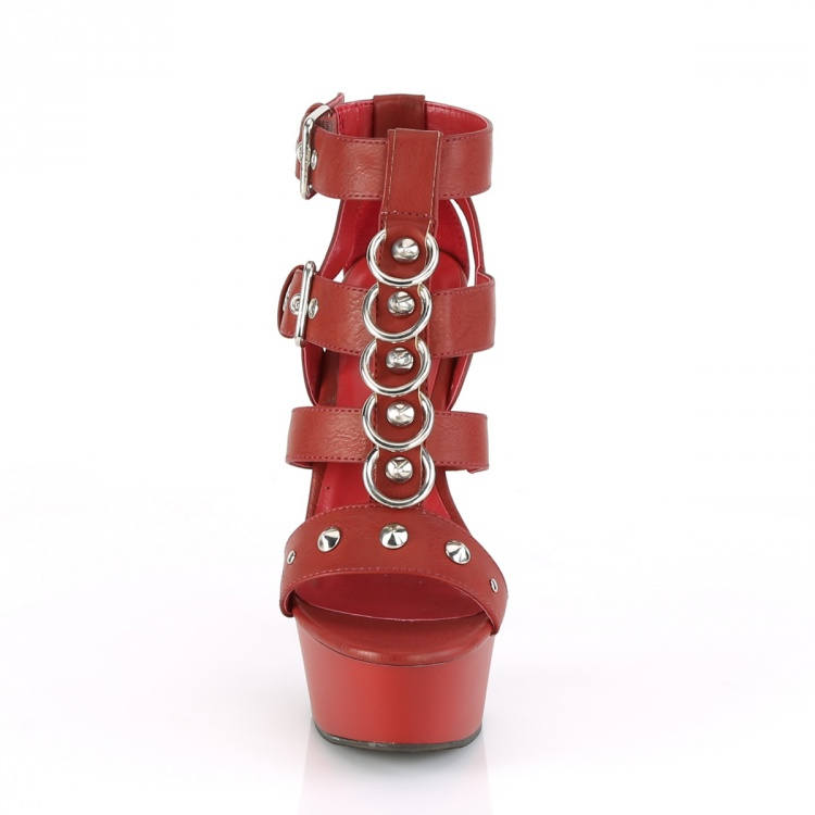 Red Faux Leather Platform Sandals Delight-658