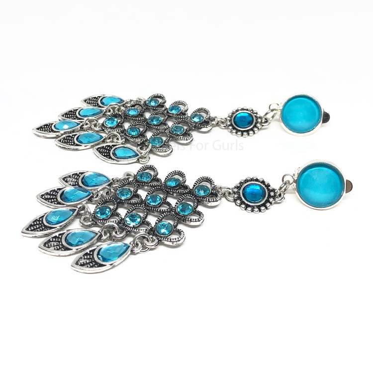 Sky Blue Crystal Drop Earrings