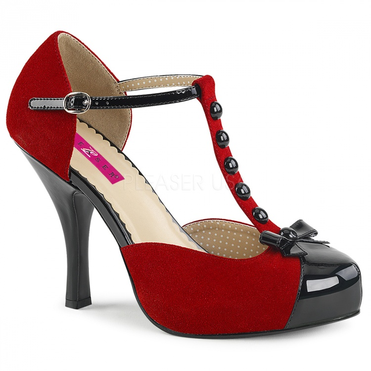 Red-Black Suede Pumps Pinup-02