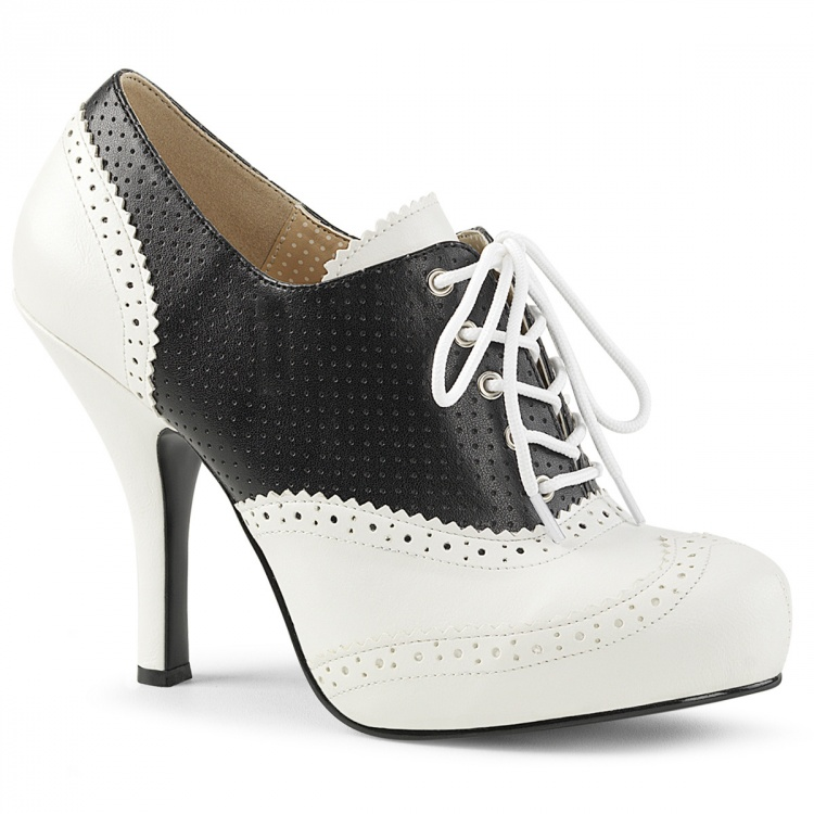 Black-White Faux Leather Pump Pinup-07