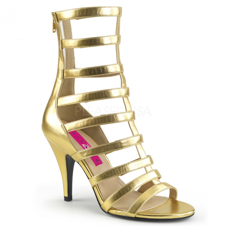 Gold Metallic PU Strappy Ankle Boot Dream-438