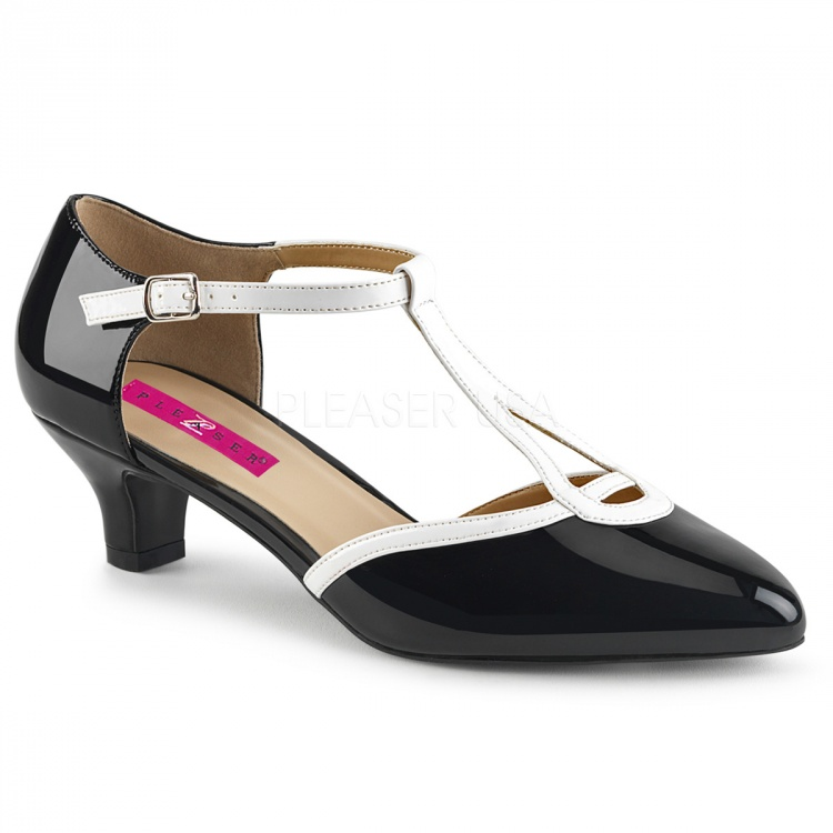 Black-White Patent T-Strap Pump Fab-428