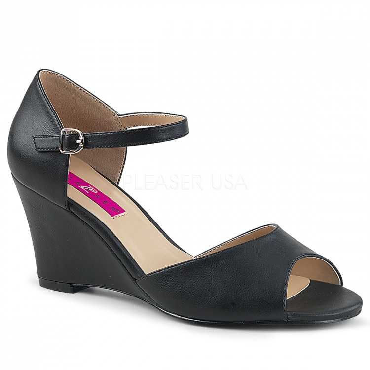 Black Faux Leather  Wedges Kimberly-05