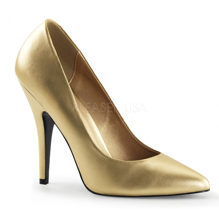 Gold Faux Leather Pumps Seduce-420