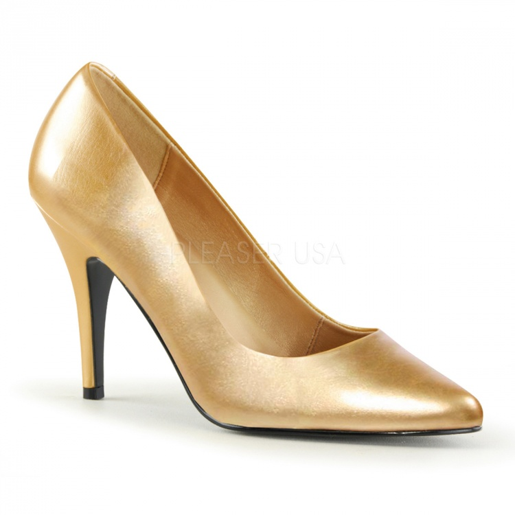 Gold Faux Leather Pumps Vanity-420