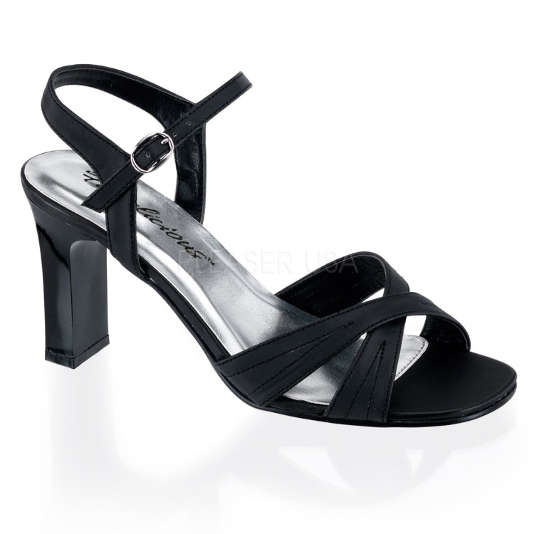 Black Satin Pu Sandals Romance-313