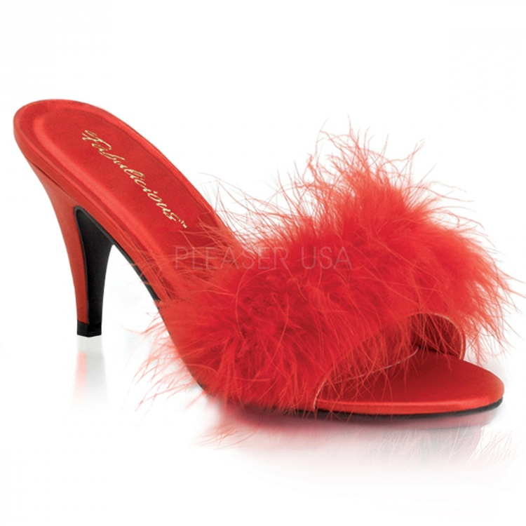 Red Satin-Fur Marabou Slipper Amour-03
