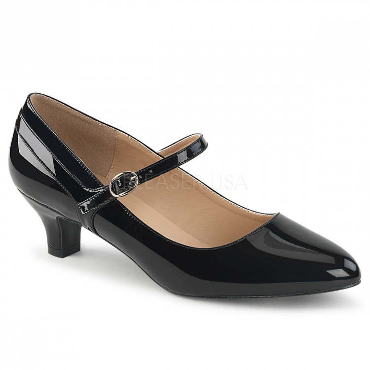 Black Faux Leather-Patent Mary-Jane Pump Fab-425