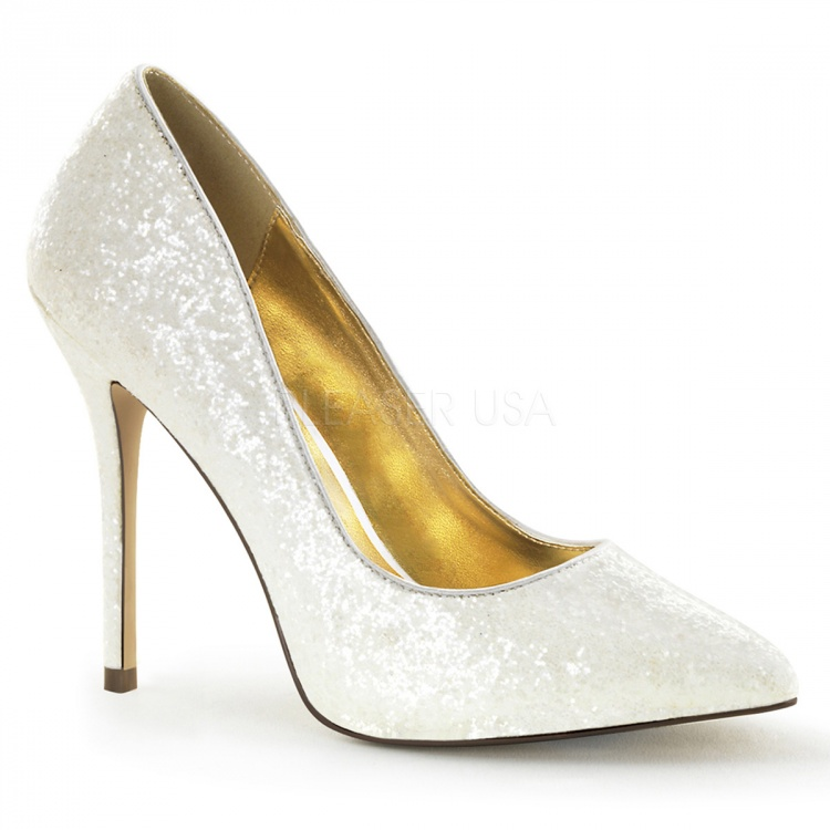 Ivory Glitter Pumps Amuse-20G