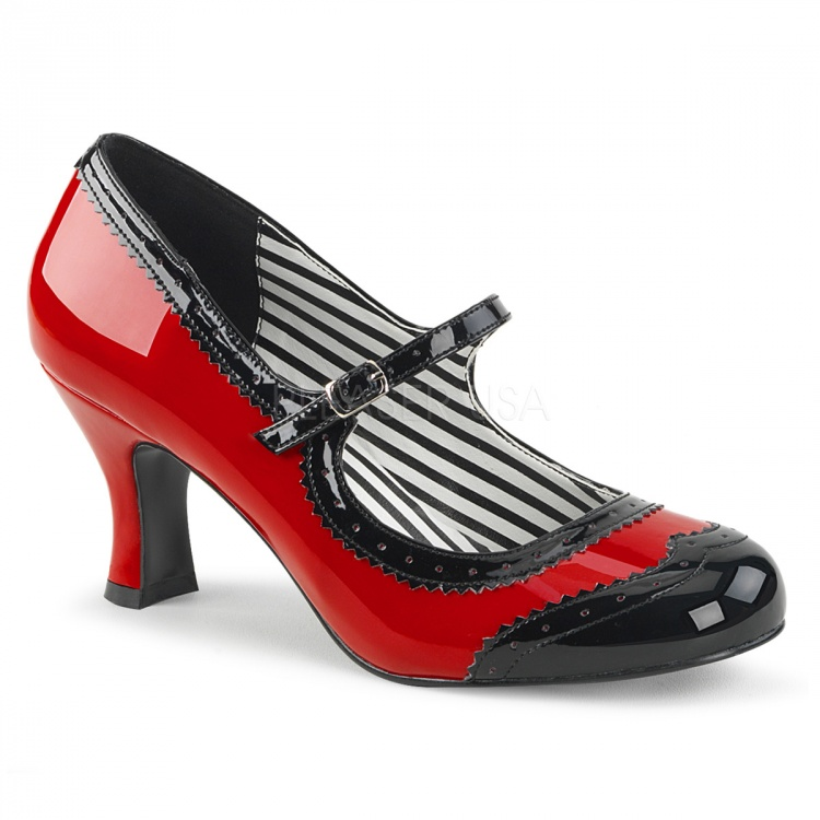 Red-Black Mary Jane Pump Jenna-06
