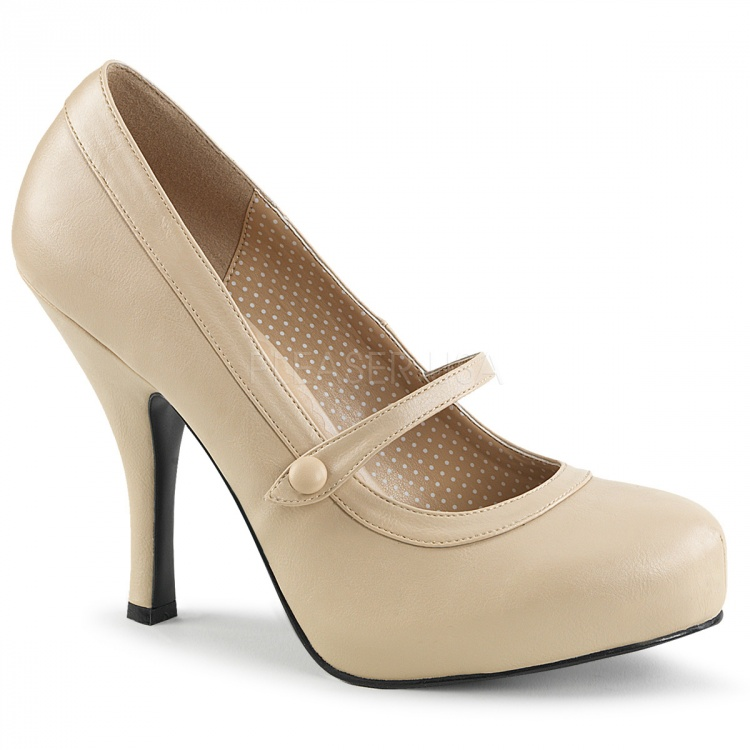 Cream Faux Leather Mary-Jane Pumps Pinup-01