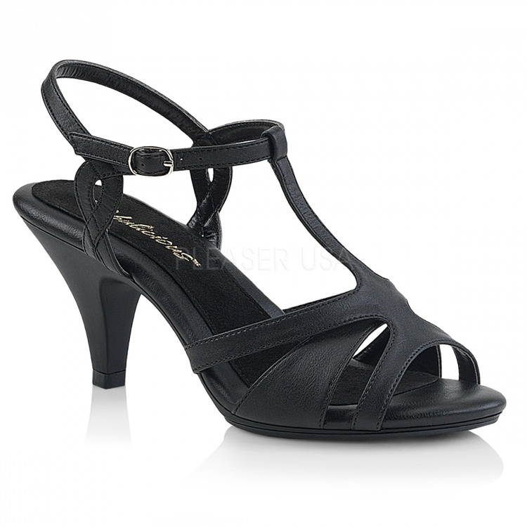 Black Faux Leather Sandals Belle-322
