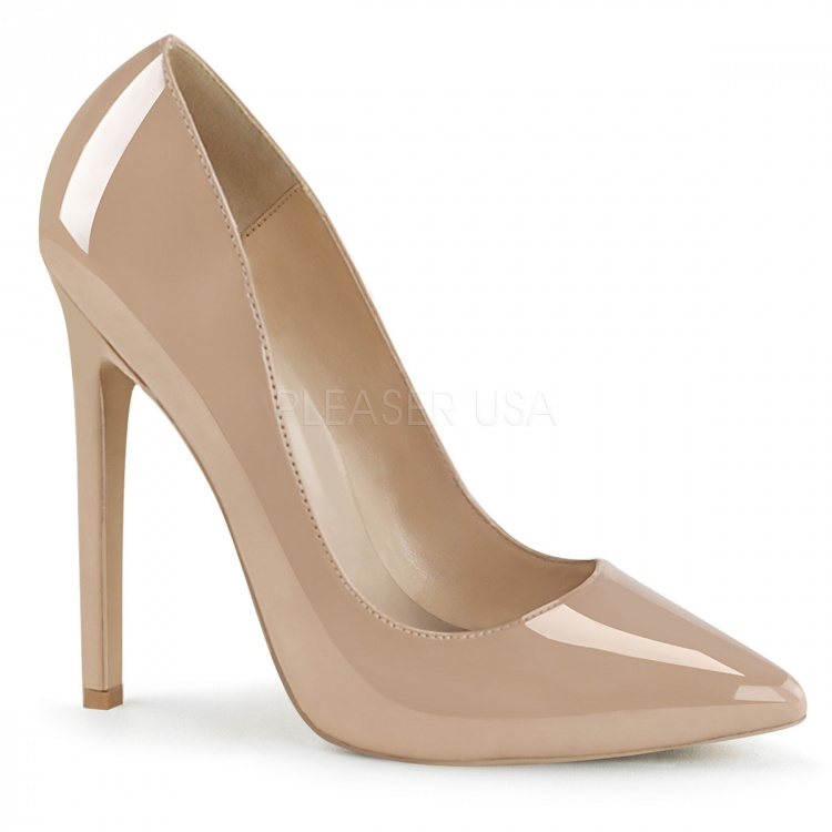 Nude Patent Pumps Sexy-20