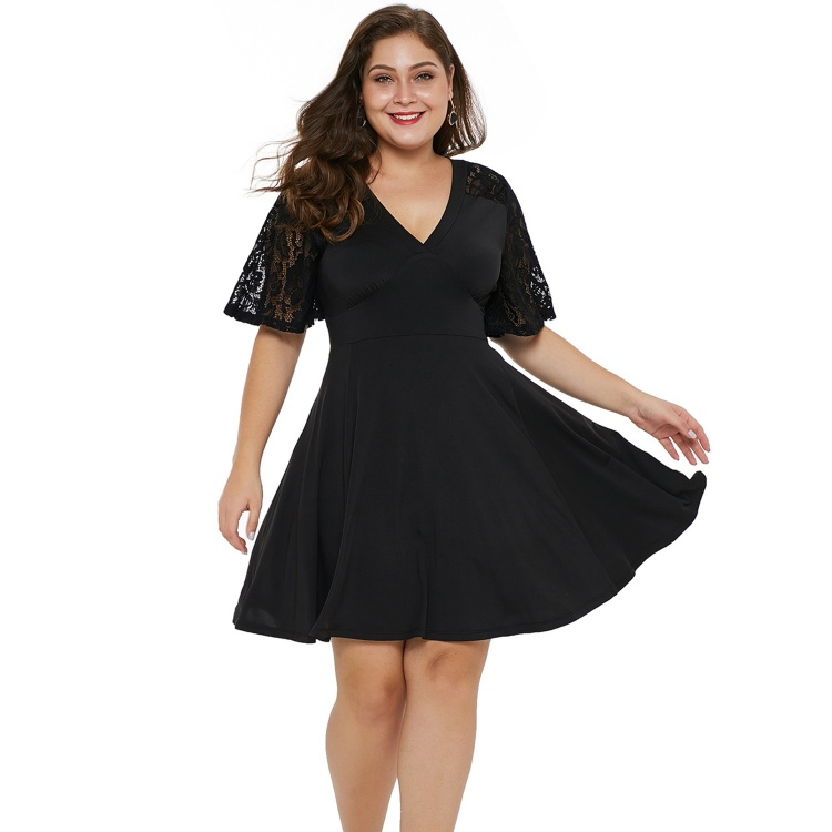 Black Short Sleeve Lace Patchwork Skater Dress