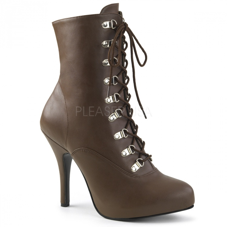 Brown Faux Leather Ankle Boots Eve-106