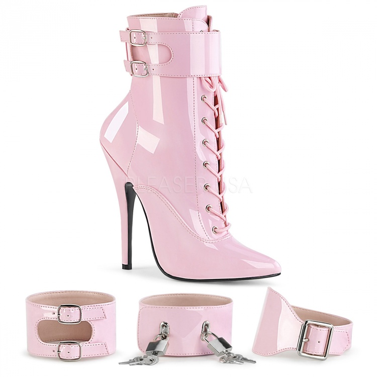 Pink Patent Ankle Boots Domina-1023
