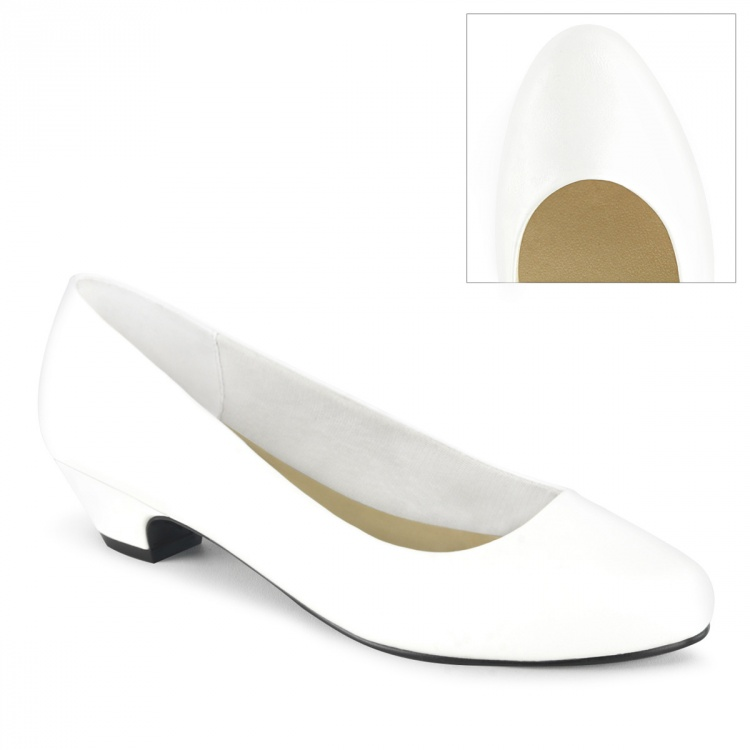 White Faux Leather Classic Pump Gwen-01