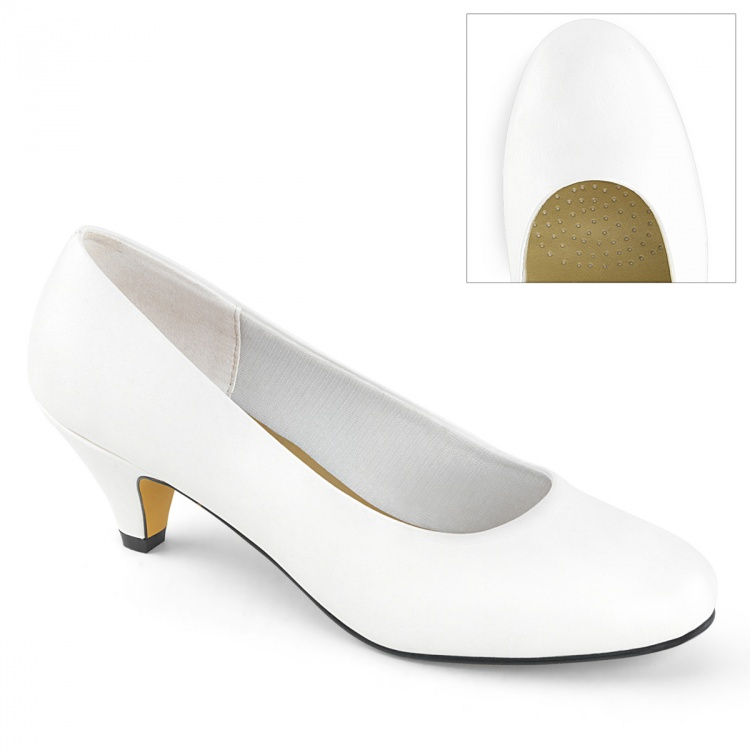 White Faux Leather Classic Pump Fefe-01