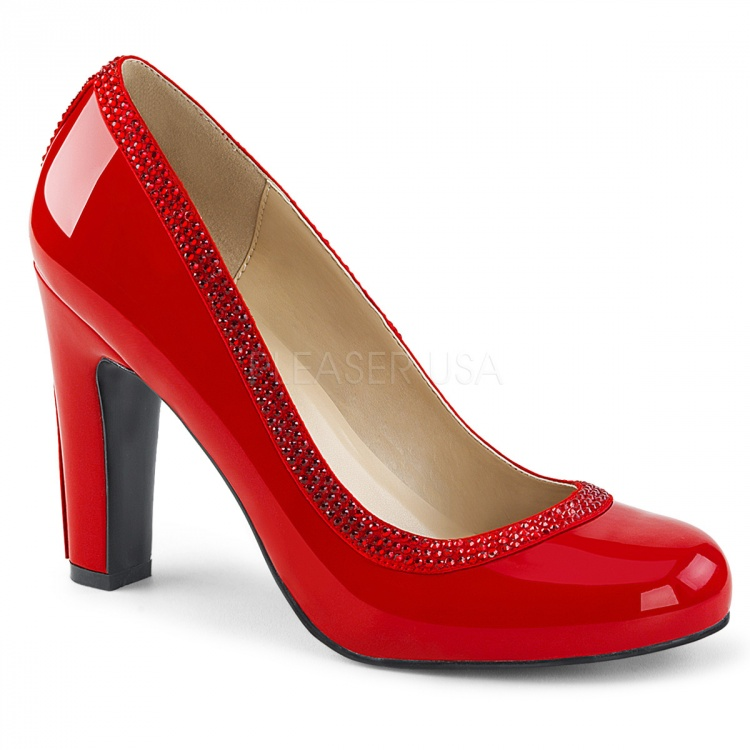 Red Patent Pumps With Rhinestones Queen-04