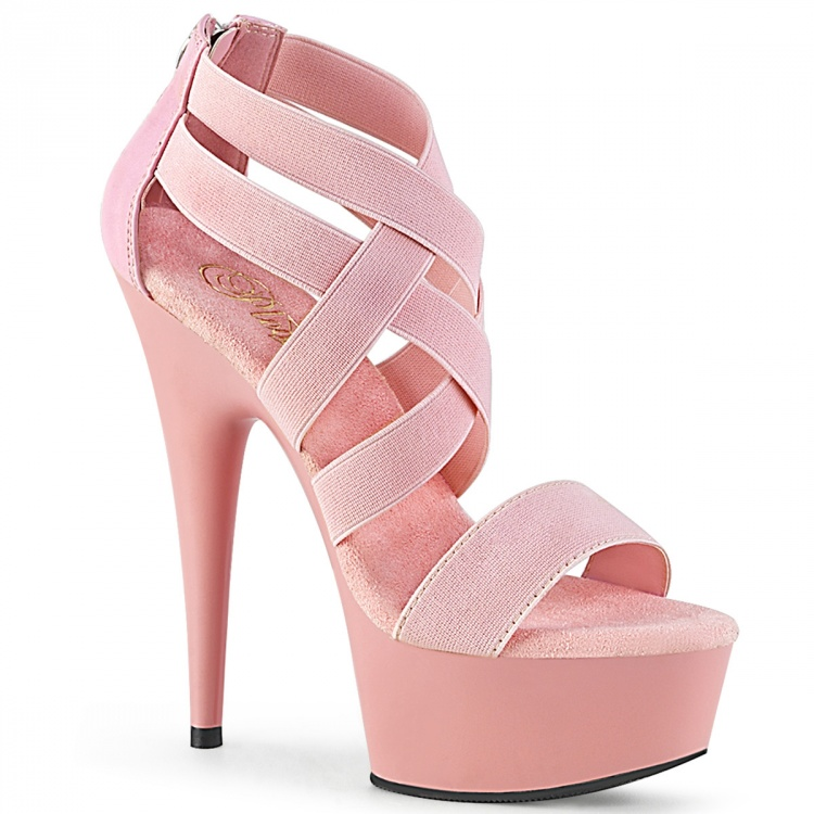 Pink Elastic Band-Faux Leather Platform Sandal Delight - 669