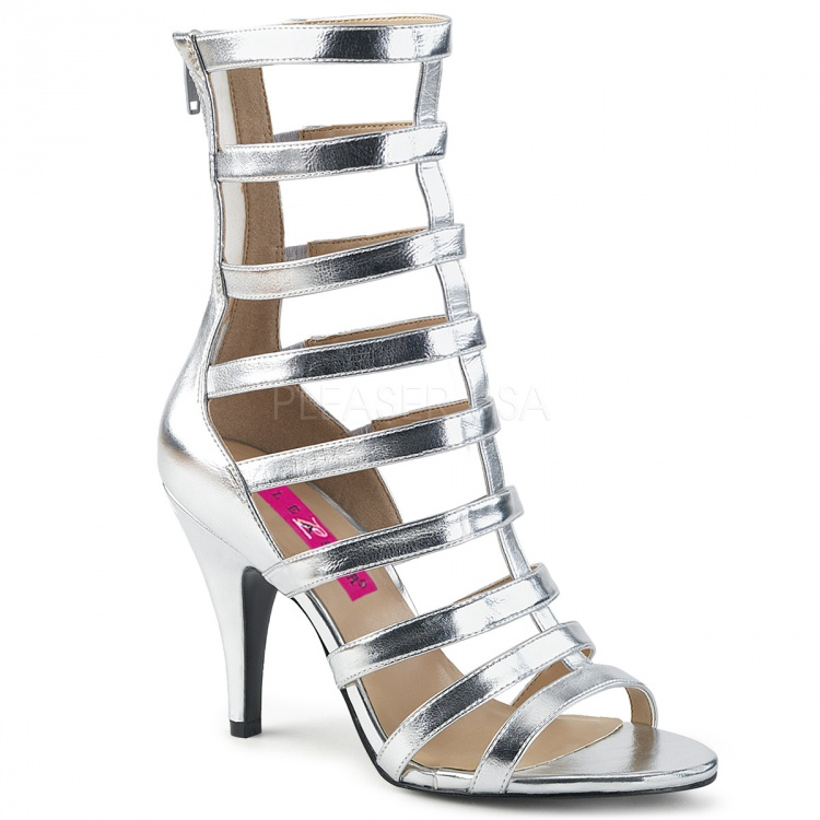 Silver Metallic PU Strappy Ankle Boot Dream-438